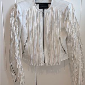 BCBG Maxazria Fringe Zip Up Jacket